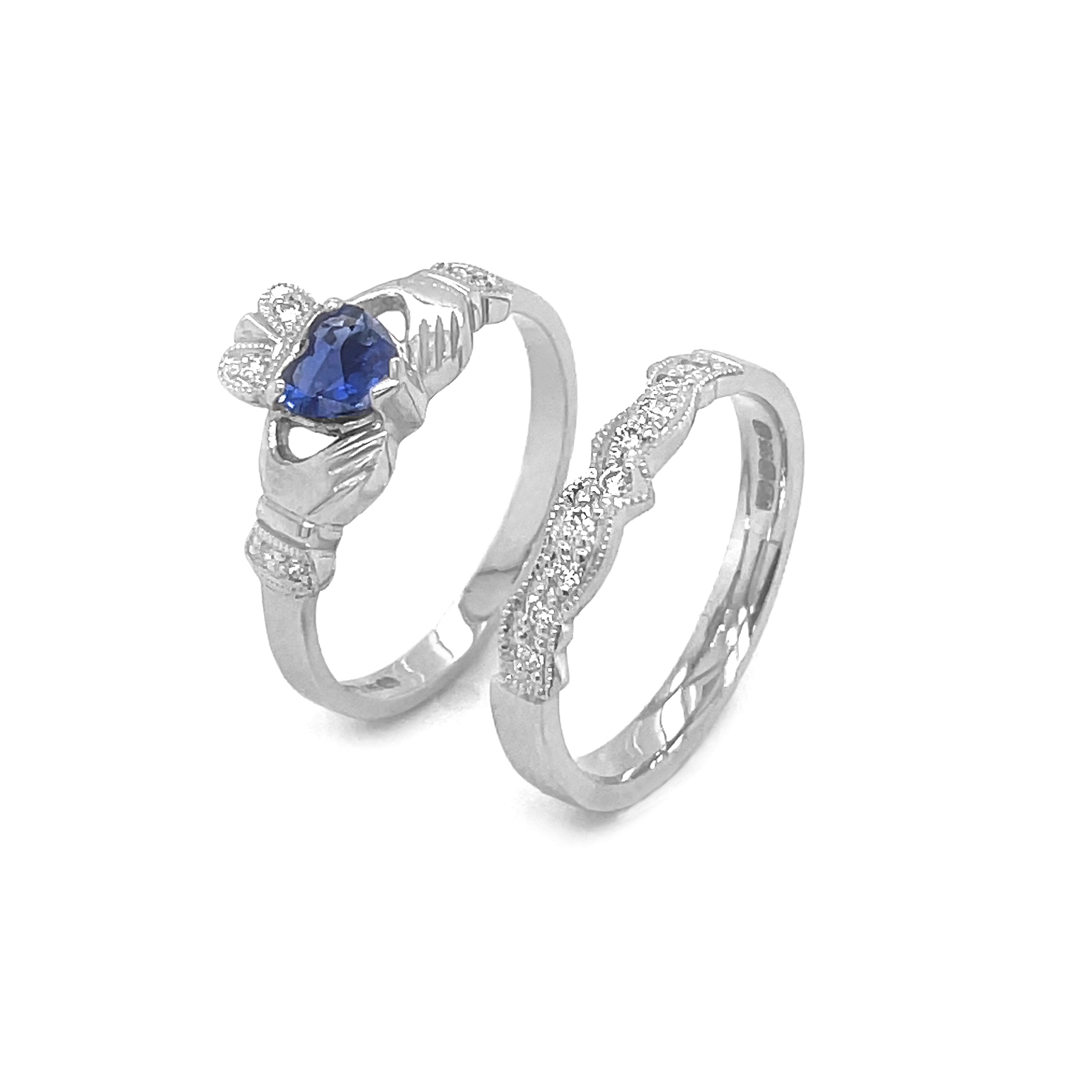 White Gold Heartshape Emerald & Diamond Claddagh Ring Set