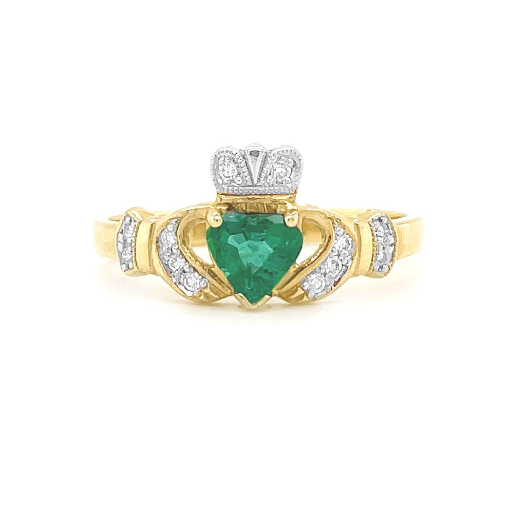 Yellow Gold Heart Emerald & Diamond Claddagh Engagement Ring