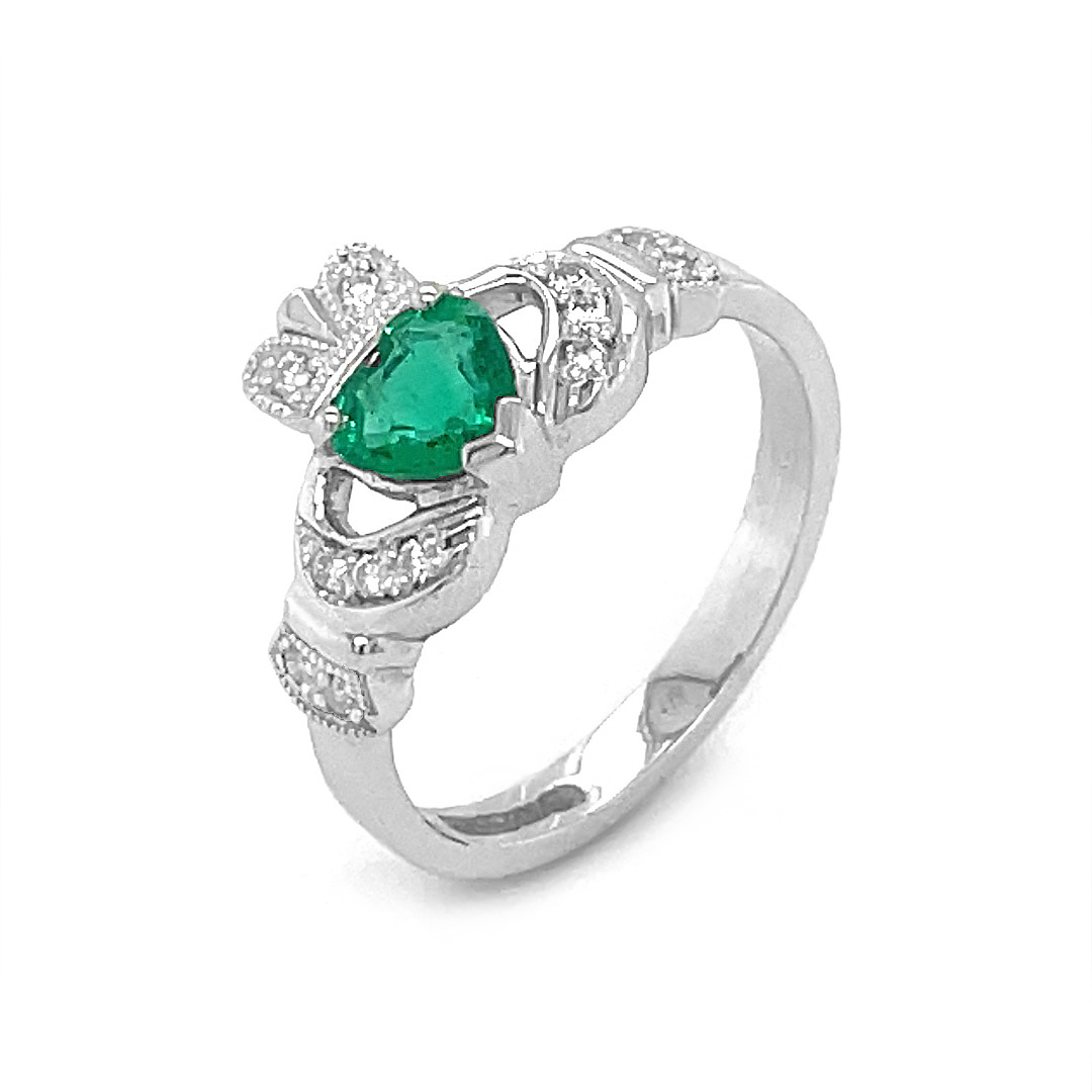 White Gold Heart Emerald & Diamond Claddagh Ring