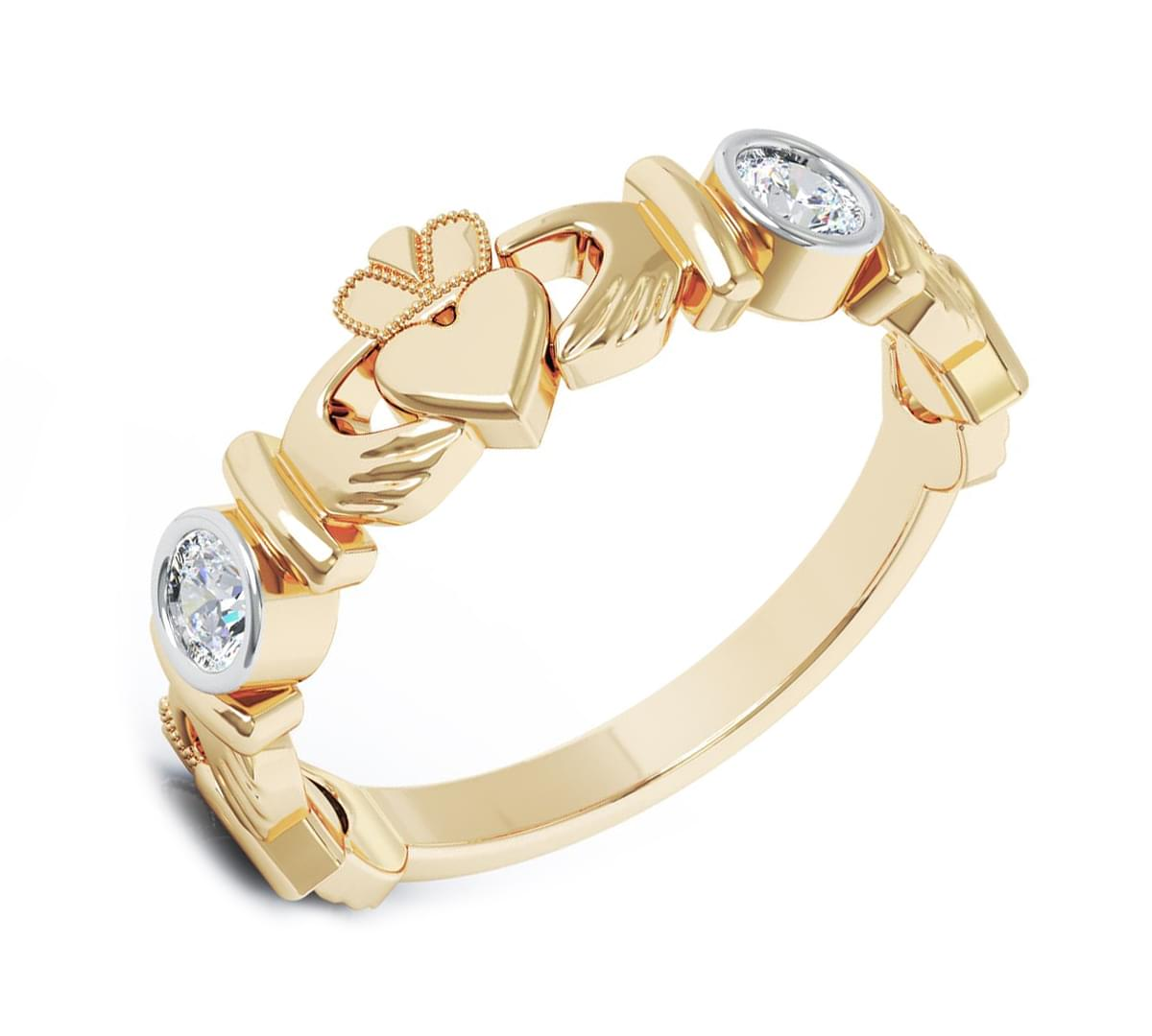 Gold and Diamond Claddagh Ring