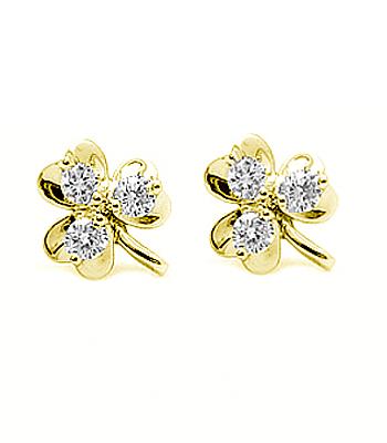3 Stone Diamond Shamrock Stud Earrings