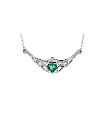 White Gold Heart Emerald & Diamond Claddagh Necklace