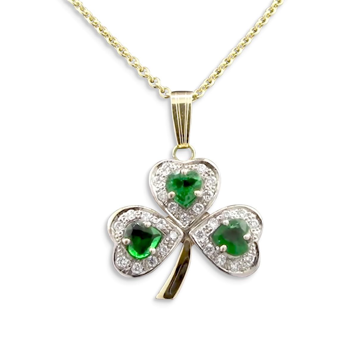 White Gold Emerald & Diamond Shamrock Pendant