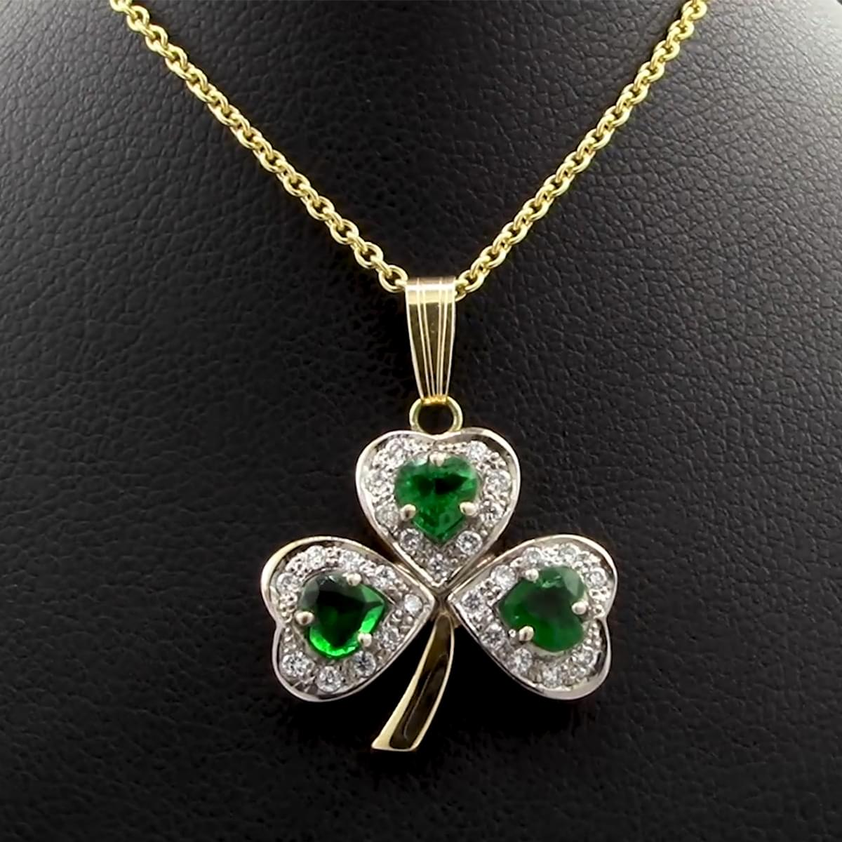 Yellow Gold Emerald & Diamond Shamrock Pendant