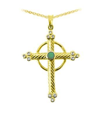 Yellow Gold Emerald & Diamond Cross Pendant