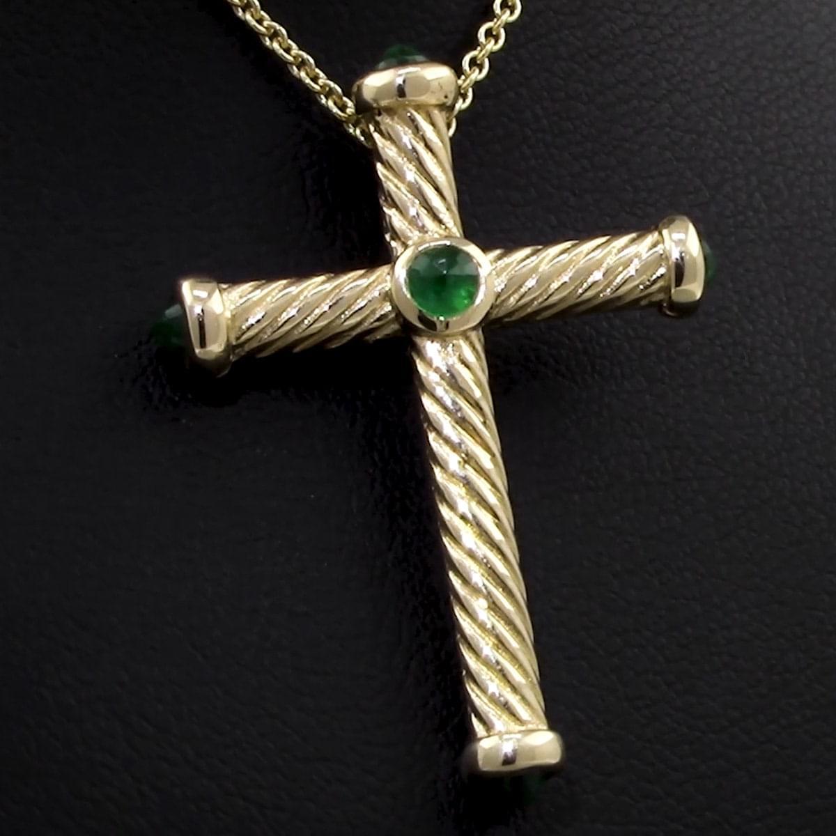 Emerald Ruby Cross Pendant On Chain