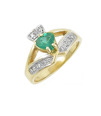 Emerald Heart Claddagh Ring With Diamonds