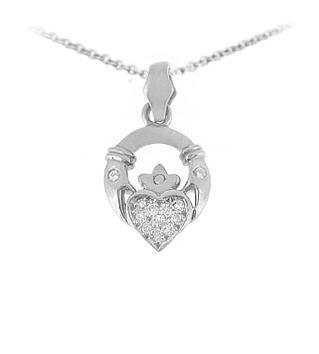 Diamond Claddagh Pendant on chain