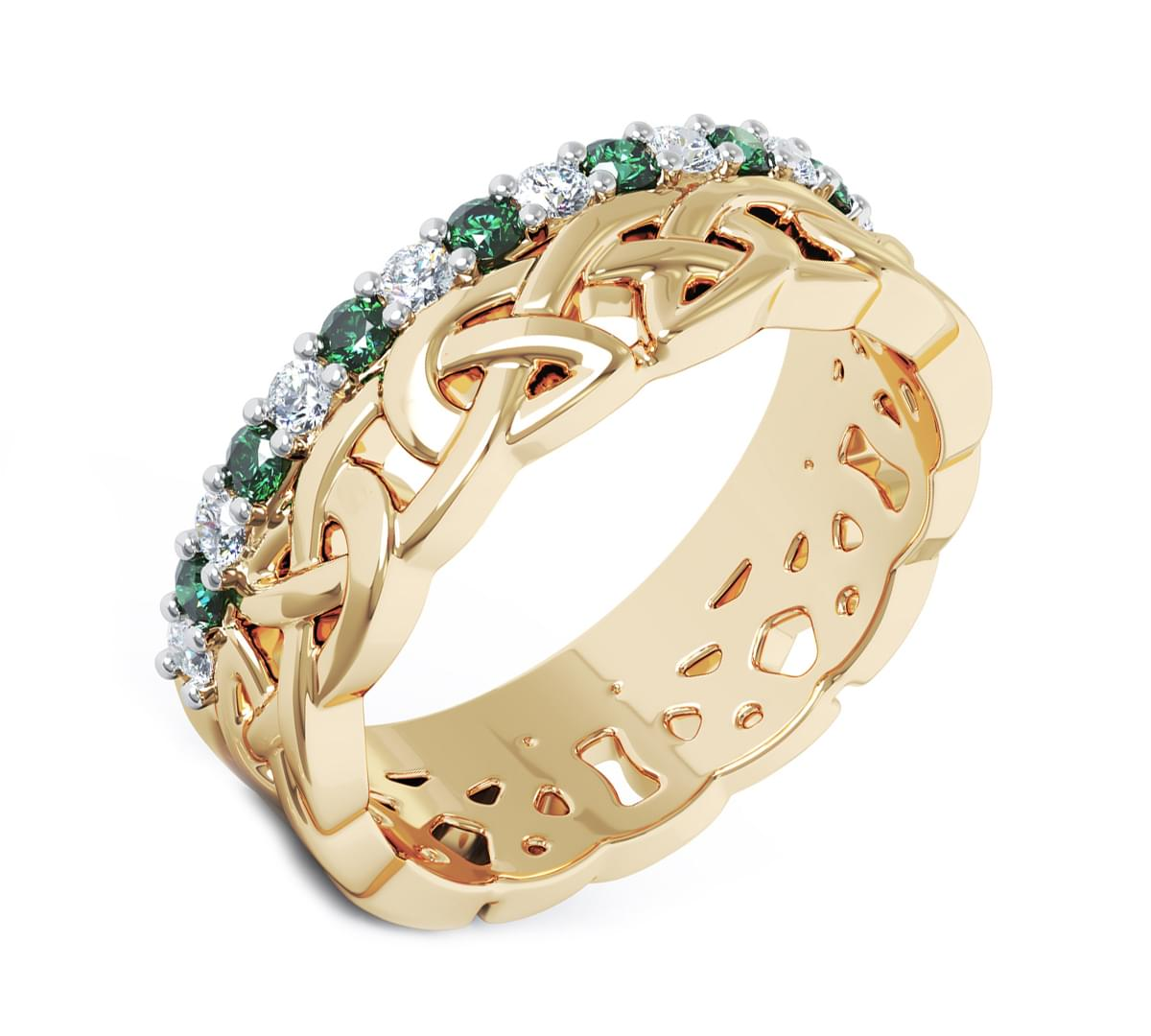 Yellow Gold Coloured Green Diamond Celtic Knot Ring