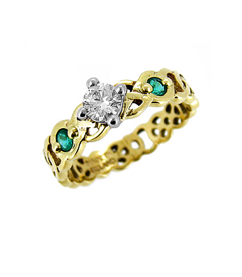 Yellow and White Gold Diamond & Emerald Celtic Knot Ring