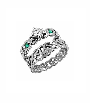 Emerald And Diamond Celtic Knot Engagement Ring
