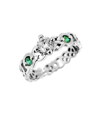White Gold Diamond & Emerald Celtic Knot Ring