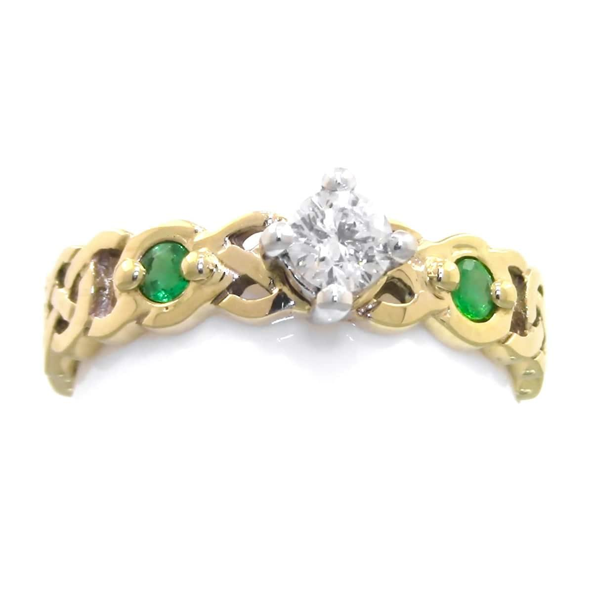 Celtic Knot Engagement Ring Emerald And Diamond In Gold