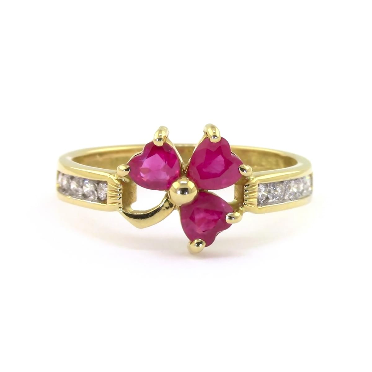 Heartshape Ruby And Diamond Shamrock
