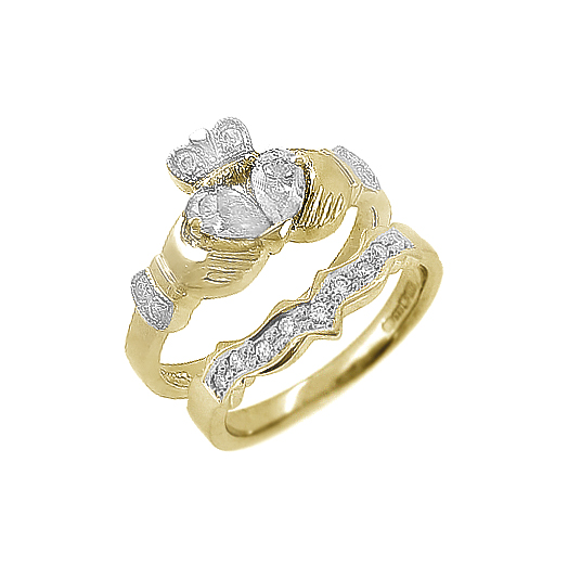 Claddagh Engagement Ring Set With Split Heart Diamond