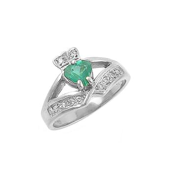Emerald Heart And Diamond Claddagh Ring In White Gold
