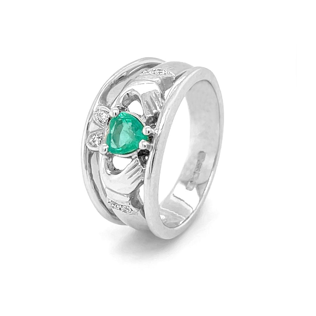 White Gold Heartshape Emerald. Diamond Claddagh Wide Ring