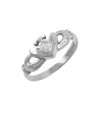 White Gold Single Stone Diamond Claddagh Ring