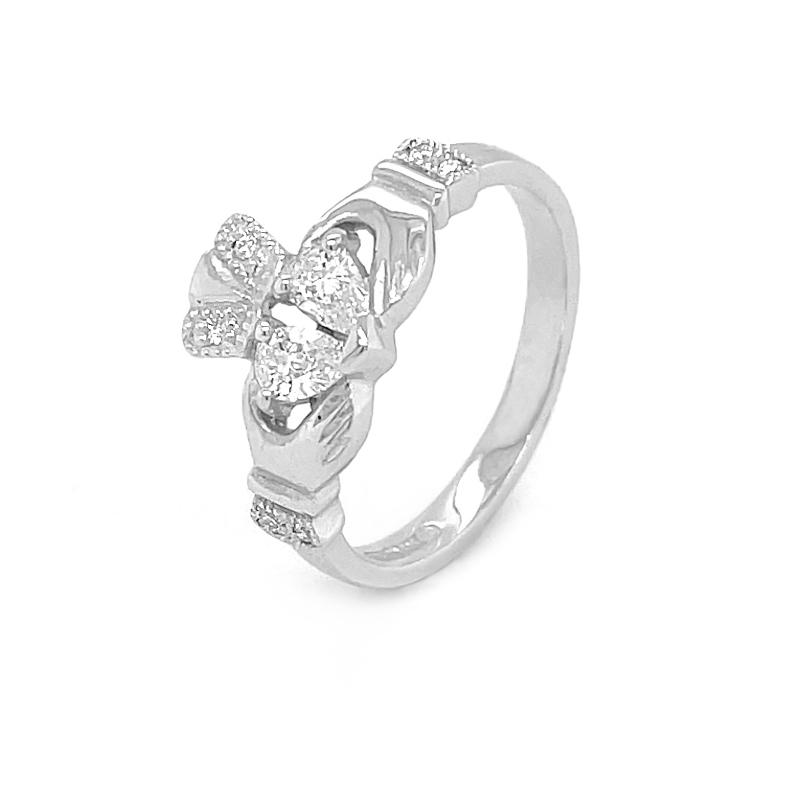 Split Heart Diamond Claddagh Engagement Ring