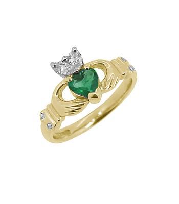 Gold Emerald And Brilliant Cut Diamond Claddagh Ring