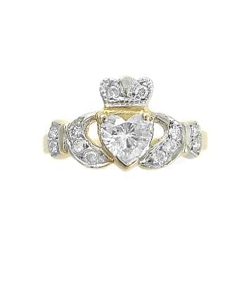 Yellow Gold Heart Diamond Encrusted Claddagh Engagement Ring