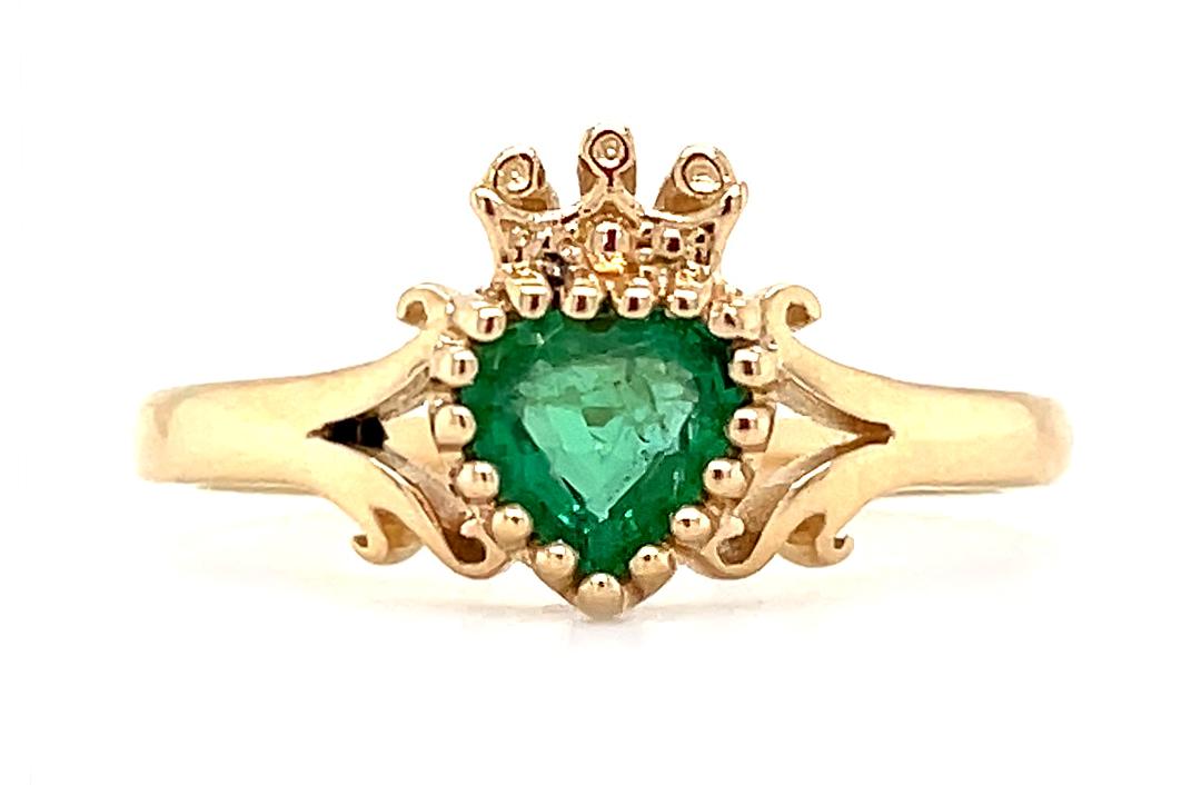 Heart Emerald Claddagh Ring