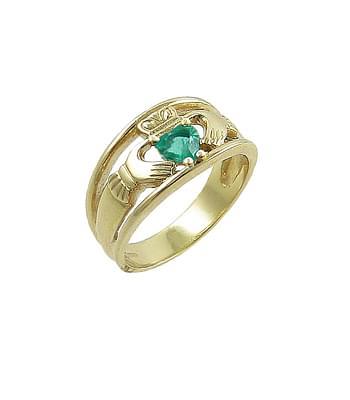 Yellow Gold - Heartshape Emerald & Diamond Claddagh Wide Ring