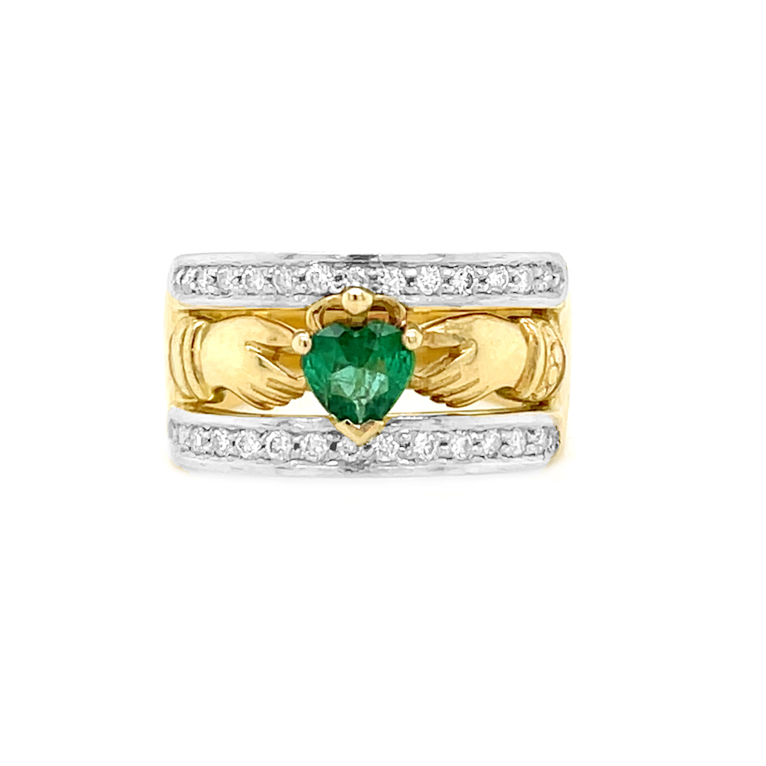 Emerald And Diamond Claddagh Ring In Gold