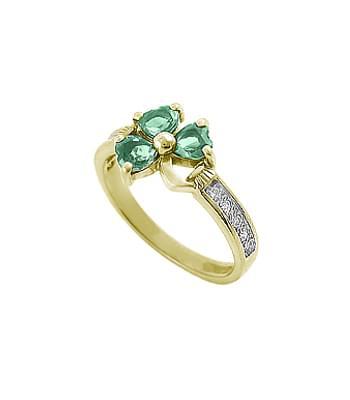 Heartshape Emerald Shamrock Ring