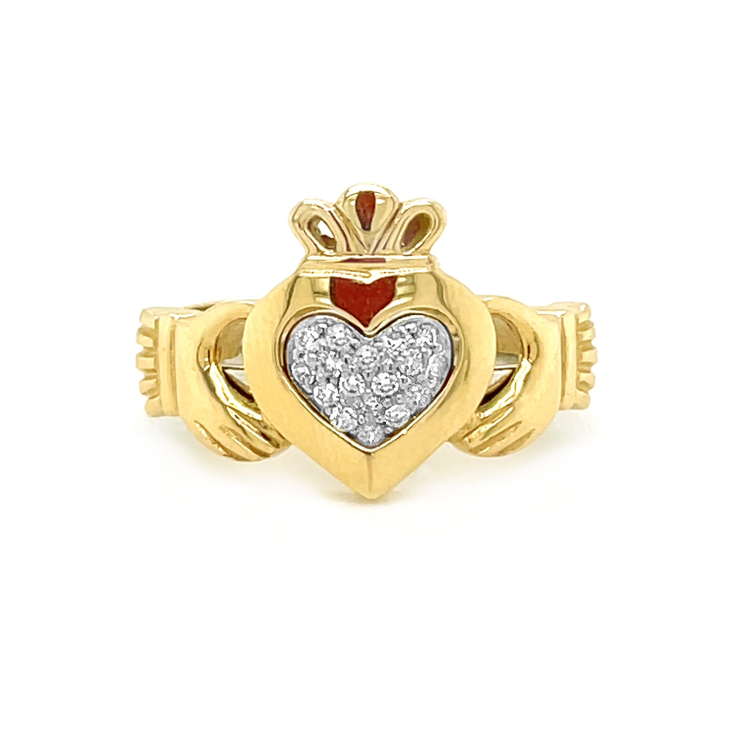 Gold Claddagh, 2 Part Ring With Diamond
