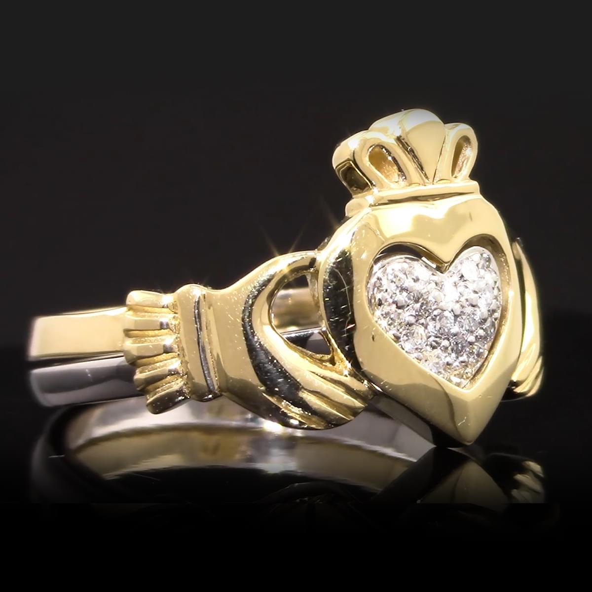 Yellow & White Gold Diamond Claddagh 2 Part Ring