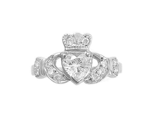 Diamond Claddagh Engagement Ring, Centre Diamond 0.50 Carat