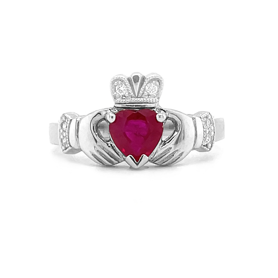 Heartshape Ruby Claddagh Ring Set In White Gold