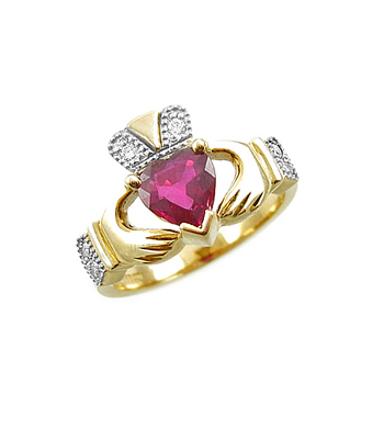 Ruby & Diamond Claddagh Engagement Ring