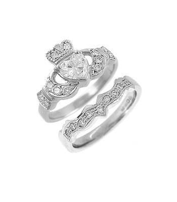 Diamond Claddagh Engagement Ring Set