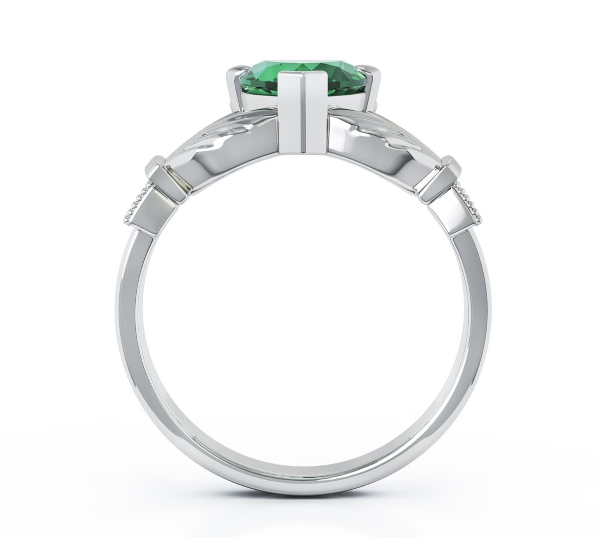 Heartshape Emerald Diamond Claddagh Engagement Ring