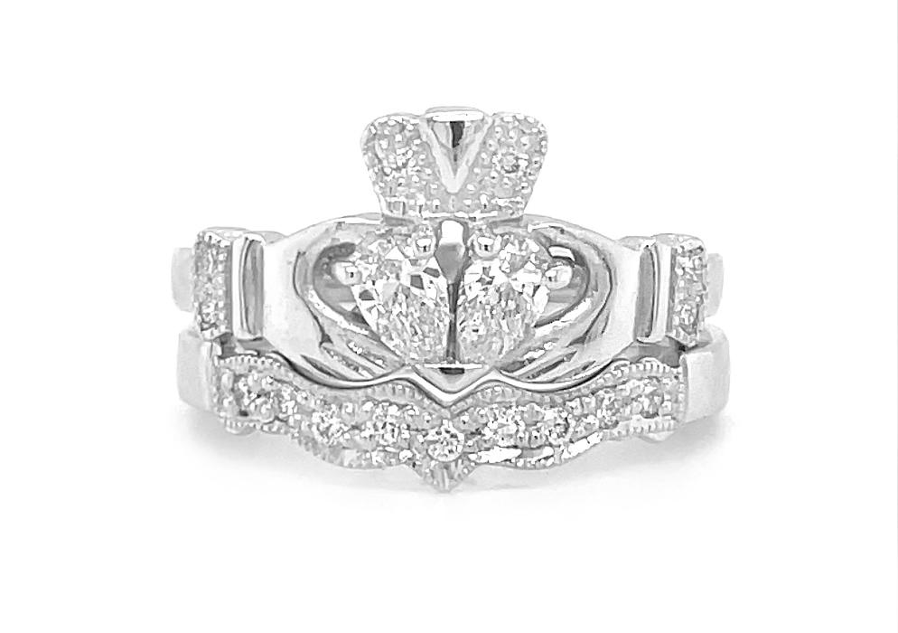 Split Heart Diamond Engagement Ring Set, White Gold