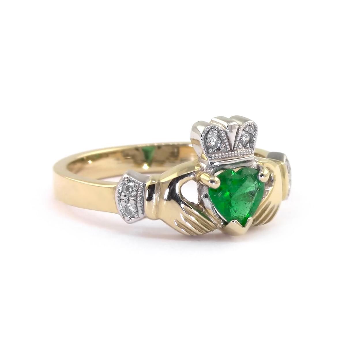 Yellow Gold  Heartshape Emerald. Diamond Claddagh Ring