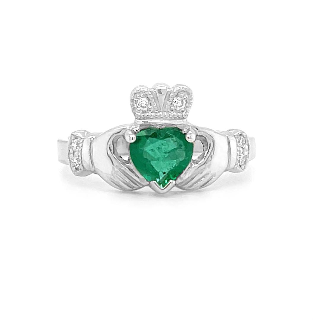 Yellow Gold Heartshape Emerald Claddagh Ring