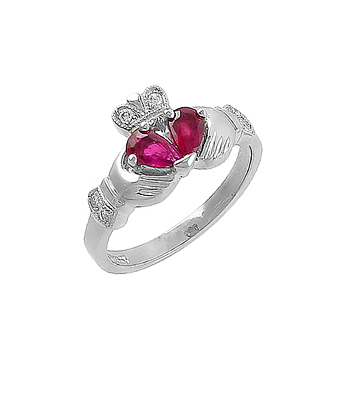 Ruby Claddagh Ring, White Gold Ring