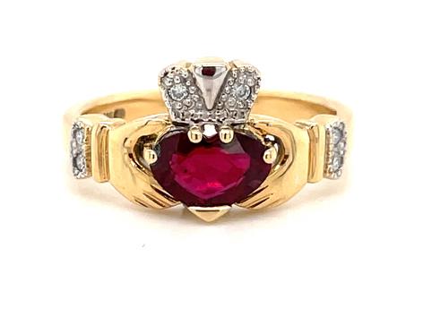 Heartshape Ruby Diamond Claddagh ring