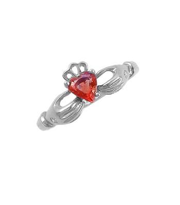 Claddagh Shape Ruby Heart Gold