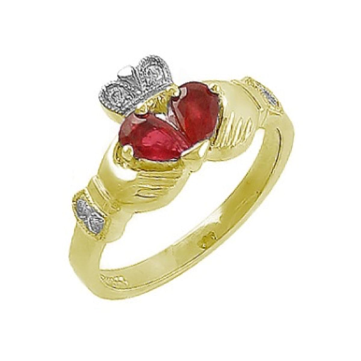 Pearshape Ruby And Diamond Claddagh Ring