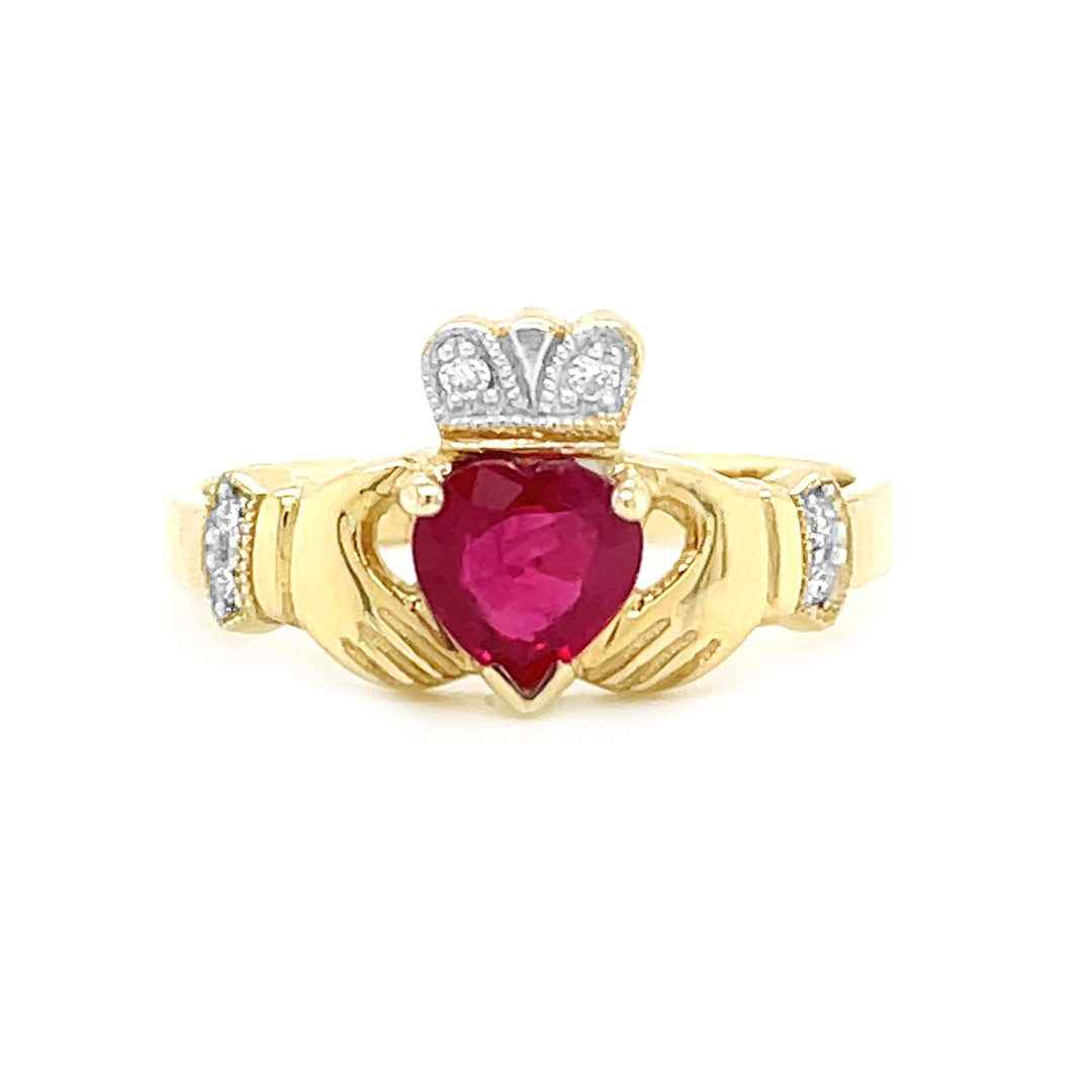 Claddagh Ring In Gold With Heartshape Ruby And Diamonds