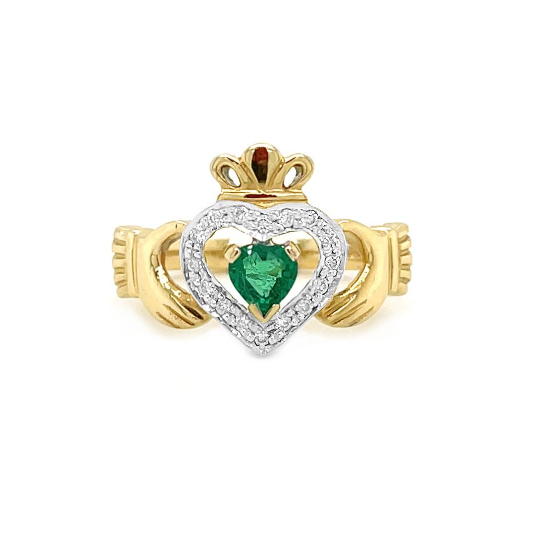 Emerald In Diamond Heart