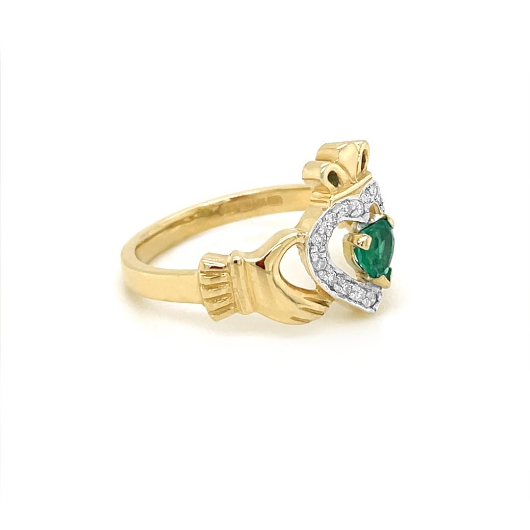 Emerald Diamond Claddagh Ring Adorned With Diamonds