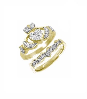 Gold, Diamond Claddagh Ring & Wedding Ring Set