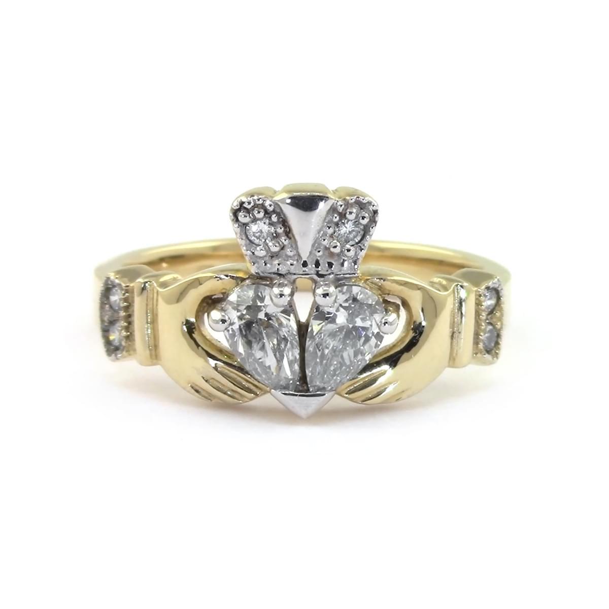 Gold Claddagh Ring, Split Heart Diamond