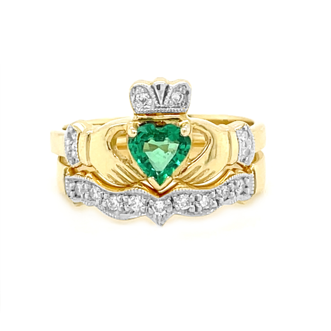 Yellow Gold Heartshape Emerald Diamond Claddagh Ring Set