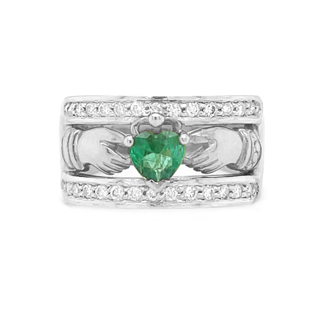 Heartshape Emerald And Diamond Claddagh Ring